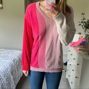 Pink and red chenille sweater